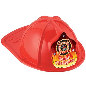 Junior Firefighter Hats With Flame Graphic (Red)