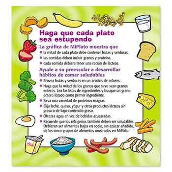 MyPlate Preschool Portion Meal Plate With Card (Spanish)