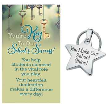 You Make Our School Shine! Star Key Ring With Card