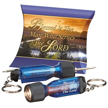 Blessed Is The Man Who Serves The Lord Mini Light-Up Screwdriver Key Tag With Pillow Box