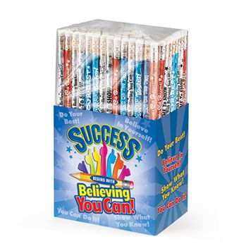 Test-Taking: Success Begins With Believing You Can 150-Piece Sparkle Foil Pencil Assortment Pack