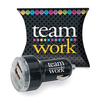 Teamwork Dual USB Car Charger With Pillow Box