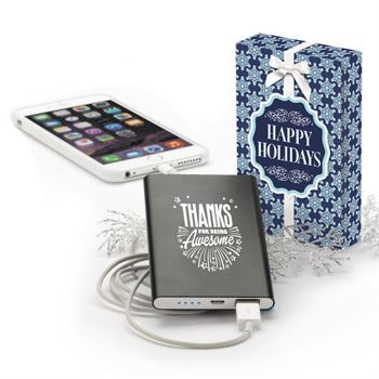 Holiday Slim Metal Power Bank - Thanks For Being Awesome
