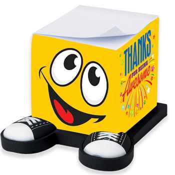 Thanks For Being Awesome Smiley Guy Sticky Note Cube & Full-Color Pen Gift Set