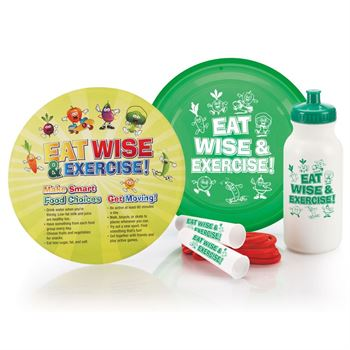 Eat Wise & Exercise! Flyer Disc & Educational Card, Jump Rope & Water Bottle Combo
