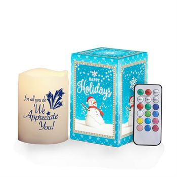 For All You Do, We Appreciate You! Color-Changing Flameless Candle With Remote in Holiday Gift Box
