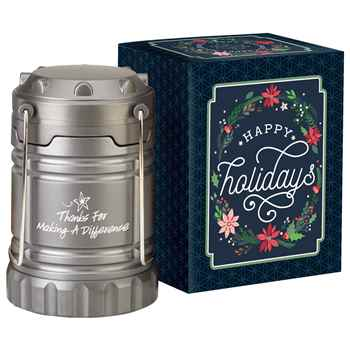 Thanks For Making A Difference Titanium Indoor/Outdoor Lantern with Magnetic Base in Holiday Gift Box