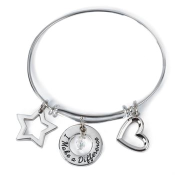 I Make A Difference Charm Bracelet with Gift Box