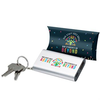 Our Staff Goes Above, Our Students Go Beyond Emergency Power Bank Key Tag With Pillow Box
