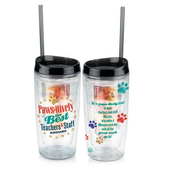 Paws-itively The Best Teachers & Staff Around Double-Wall Acrylic Tumbler With Fruit Infuser & Straw