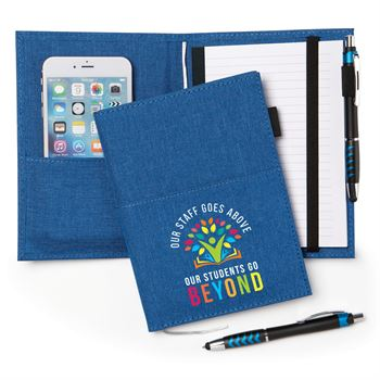 Our Staff Goes Above, Our Students Go Beyond 5 x 7 Fabric Pocket Journal With Stylus Pen