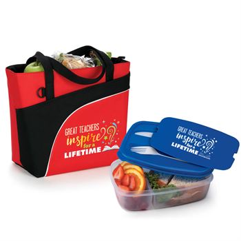 Great Teachers Inspire For A Lifetime Harvard Lunch/Cooler Bag & 2-Section Food Container with Utensils Combo