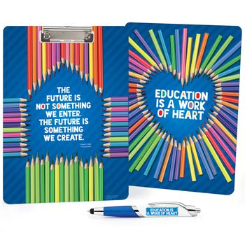 Education Is A Work Of Heart Clipboard & Full-Color Pen Gift Set