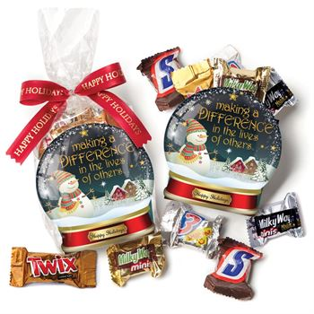 Snow Globe Paper Tote With Mini Chocolates plus Holiday Bow