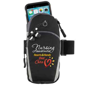 Nursing Assistants: Hearts & Hands That Care Cell Phone Armband With Earbuds