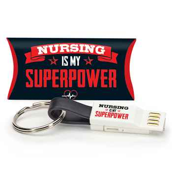 Nursing Is My Superpower 3-in-1 Charging Cord Keychain with Pillow Box