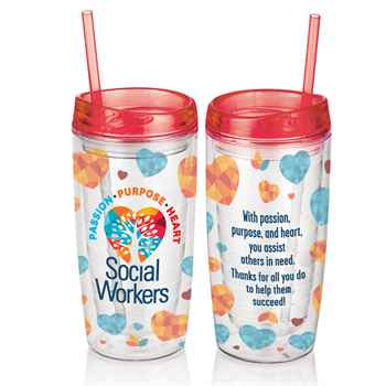 Social Workers: Passion, Purpose, Heart Acrylic Tumbler With Straw 16-Oz.