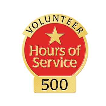 Volunteer 500 Hours Of Service Lapel Pin In Velvet Presentation Box