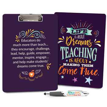 Life Is About Dreams, Teaching Is About Making Them Come True Clipboard & Full-Color Pen Value Set