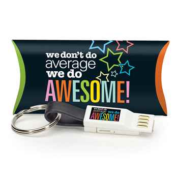 We Don't Do Average, We Do Awesome! 3-In-1 Charging Cord Keychain With Pillow Box