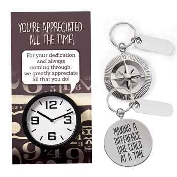 Making A Difference One Child At A Time Clock Key Tag and Thank You Charm with Keepsake Card
