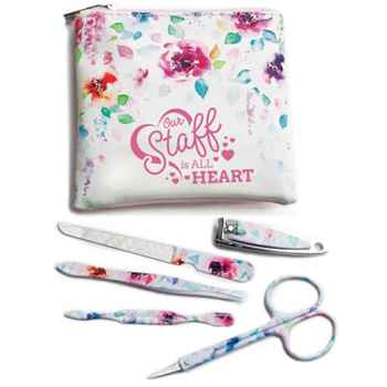 Our Staff Is All Heart Full-Color Manicure Kit With Floral Pouch