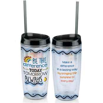 Be The Difference: Today, Tomorrow, Always Double-Wall Acrylic Tumbler 16-Oz. with Fruit Infuser and Straw