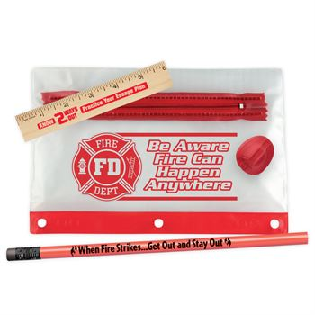 Be Aware, Fire Can Happen Anywhere 4-Piece Pencil Pouch Gift Set