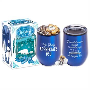 We Truly Appreciate You Blue Stemless Stainless Steel Tumbler 12-Oz. with S'mores Popcorn in Holiday Gift Box