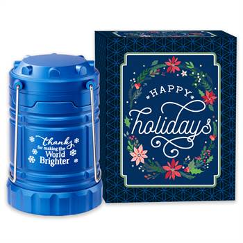 Thanks For Making The World Brighter Blue Indoor/Outdoor Lantern With Magnetic Base In Holiday Gift Box