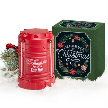 Thanks For All You Do Red Indoor/Outdoor Lantern with Magnetic Base in Merry Christmas Gift Box