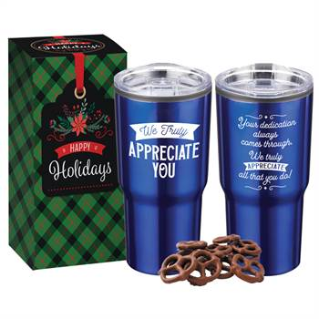 We Truly Appreciate You Blue Timber Tumbler 20-Oz. With Pretzels in Holiday Gift Box