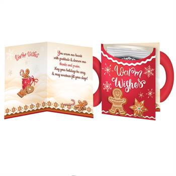 Warm Wishes Mug-Shaped Greeting Card With Hot Chocolate