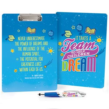 It Takes A Team To Help Children Dream Clipboard & Full-Color Pen Gift Set