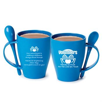 Volunteers Thanks So Much For The Lives You Touch Eco-Friendly Wheat Mug 12-Oz. With Spoon