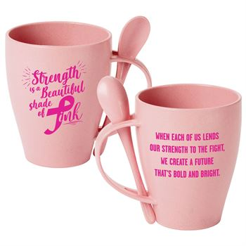 Strength Is A Beautiful Shade Of Pink Eco-Friendly Wheat Mug 12-Oz. With Spoon