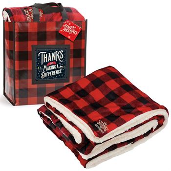 Thanks For Making A Difference Buffalo Plaid Mink Sherpa Blanket & Laminated Tote Gift Set With Holiday Gift Card