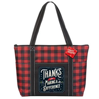 Thanks For Making A Difference Buffalo Plaid Tote Bag With Holiday Gift Card