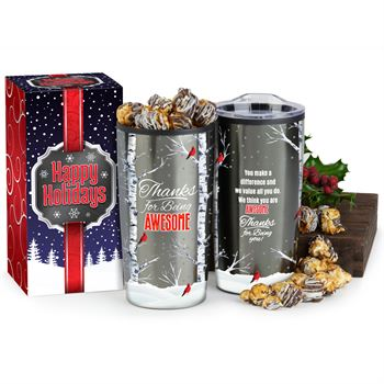 Thanks For Being Awesome Teton Stainless Steel Tumbler 20-Oz. With Gourmet Popcorn In Holiday Gift Box