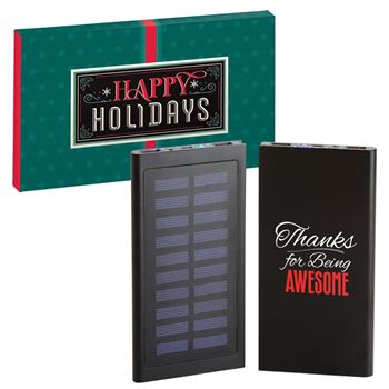 Thanks For Being Awesome 8000 mAH Solar-Powered UL® Power Bank In Holiday Gift Box