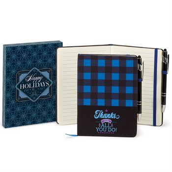Thanks For All You Do Buffalo Plaid Journal & Stylus Pen In Holiday Gift Box
