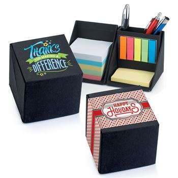 Thanks For Making A Difference Recycled Note Cube Caddy With Holiday Gift Wrapper