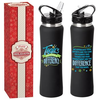 Thanks For Making A Difference Lakewood Stainless Steel Water Bottle 25-Oz. In Holiday Gift Box