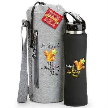 For All You Do, We Appreciate You! Stainless Steel Water Bottle & Bottle Sling Gift Set