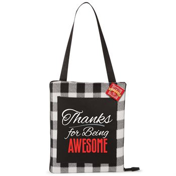 Thanks For Being Awesome Buffalo Plaid Cushion Blanket With Holiday Gift Card
