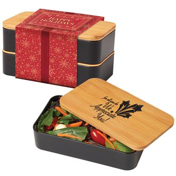 For All You Do, We Appreciate You!�Eco-Friendly 2-Tier Wheat Fiber & Bamboo Bento Box With Holiday Gift Wrapper