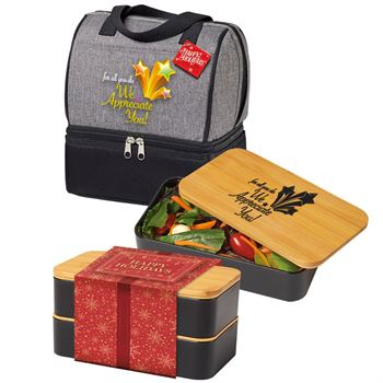 For All You Do, We Appreciate You! Lunch/Cooler Bag & Eco-Friendly Bento Box Gift Set With Holiday Gift Card & Wrapper