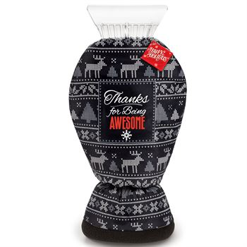 Thanks For Being Awesome! Sweater Ice Scraper Mitt With Holiday Gift Card