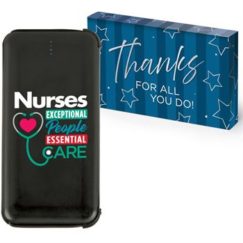 Nurses: Exceptional People, Essential Care 5,000 mAh UL® Power Bank With Built-In Charging Cords