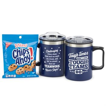 Tough Times Don't Last Tough Teams Do Sonoma Stainless Steel Mug 12-Oz. With Chips Ahoy Cookies